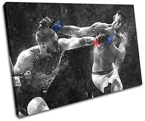 Bold Bloc Design - Conor Mcgregor Nate Diaz UFC MMA Sports 90x60cm SINGLE Canvas Art Print Box Framed Picture Wall Hanging - Hand Made In The UK - Framed And Ready To Hang