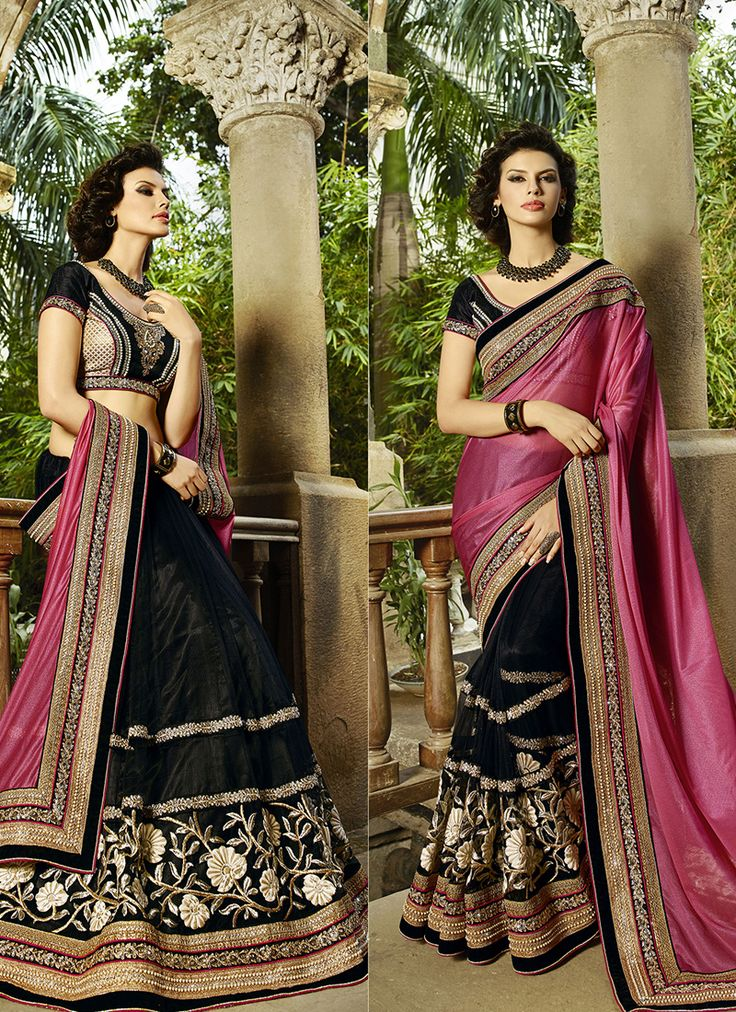 #Black & #Pink Colour #Net & #Georgette #Saree. Lovely #floral #embroidery and #exotic #colours come together to define this #beautiful #saree.  Contact to Buy : +91-9377111620