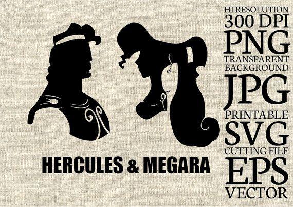 Hercules and Megara Disney Silhouette SVG Cut by CartoonCliparts