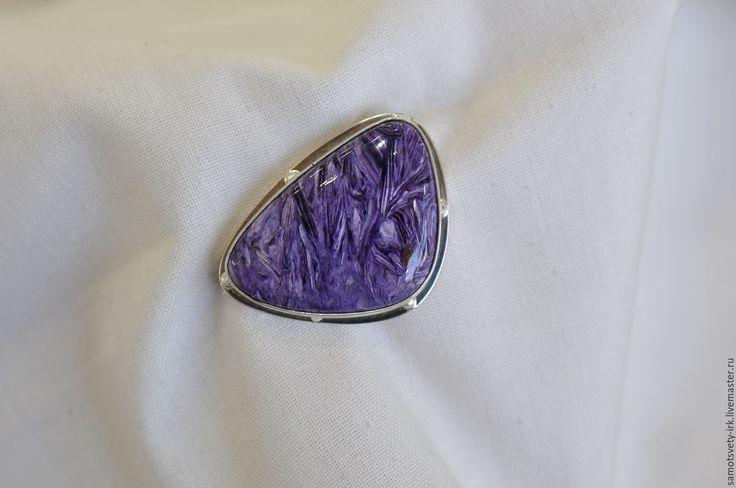 Купить Брошь с чароитом - фиолетовый, брошь ручной работы, брошь с камнями, брошь с чароитом