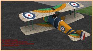 Sopwith F.1 Camel einmotoriger DoppeldeckerOldtimer als Freeware für den FSXvon Classic Wings & Craig Richardson
