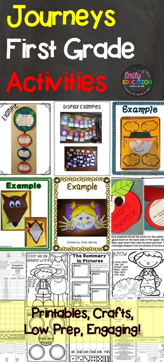 Journey First Grade Activities! This teacher has done it all: Low Prep! Crafts, Focus Wall Posters, Printables. Come see what has made students and teachers fall in love with teaching Journeys!