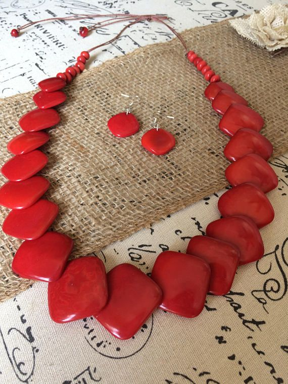 Red necklace and earrings set Tagua jewelry Mothers day from