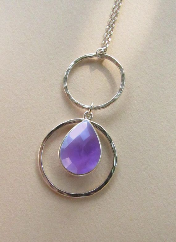 Amethyst Stone Crystal Necklace Pendant Jewelry Chain Gemstone Birthstone Silver Necklace. Amethyst Healing Stone Charm Gift. 92.5 Silver necklace. A little touch of magic and mystery to carry everywhere.  A M E T H Y S T - H E A L I N G - P R O P E R T I E S: Empowers intelligence, optimistic thinking, intuitive abilities and insight. Helps connect to inner healing of body, mind & soul.  G I F T S - You will receive all our jewelry in A gift boxes With a designed card describing the gems...