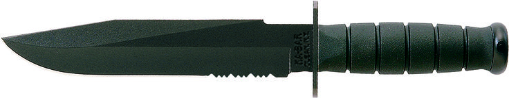 "KA-BAR 1271 Commando is a large all black non-reflective 12 7/8"" overall length fighting utility knife with a non-slip Kraton G Thermoplastic elastomer handle. This knife features an epoxy powder coated full tang high carbon (1095) Cro-Van steel blade with a [HRC 56-58] hardness rating. The knife's 8"" blade has a partially serrated cutting edge to provide easy cutting through tough materials such as braided nylon rope. www.tomarskabars.com"