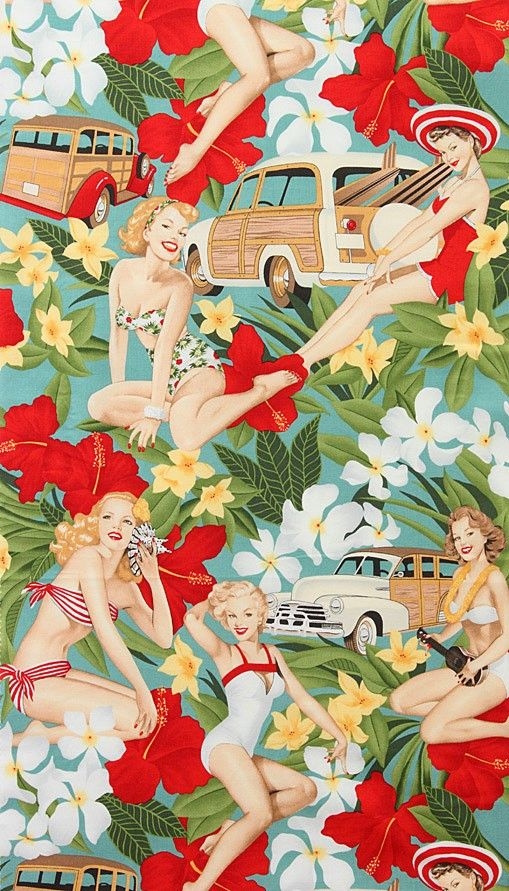 Aloha Girls Pin-Ups Surf Cotton Fabric by Alexander Henry