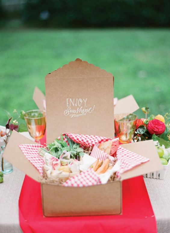 individual picnic boxes- something like this could work maybe be cheaper than dishes