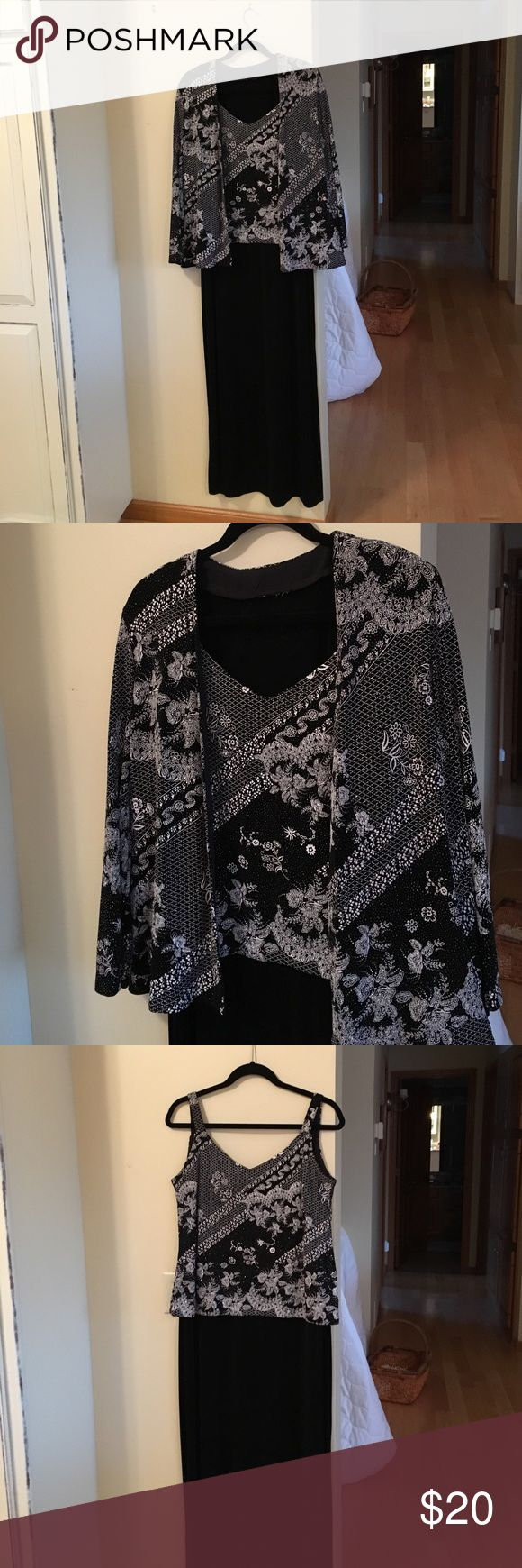 Dressy long black jacket dress🌹 NWOT NWOT. Just gorgeous dress with sleeveless overlay top embellished with white floral pattern and subtle sparkles. Jacket has same white pattern and sparkle. Perfect for any formal occasion or cruise wear. 90% acetate/10% spandex. R&M Richards Dresses Maxi