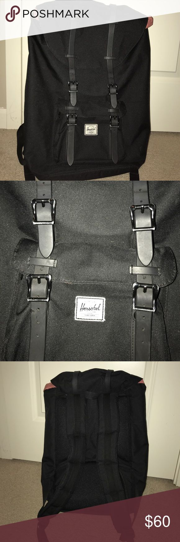 Herschel Little America Backpack Black backpack with black leather trim and red and white pinstripes inside. Immaculate, but slight wear to metal buckles on lower pouch (pictured). Herschel Supply Company Bags Backpacks