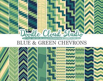 Blu e verde Chevron digitale carta, Chevron e motivi a strisce, linee Zig Zag crema sfondi per Personal & uso commerciale