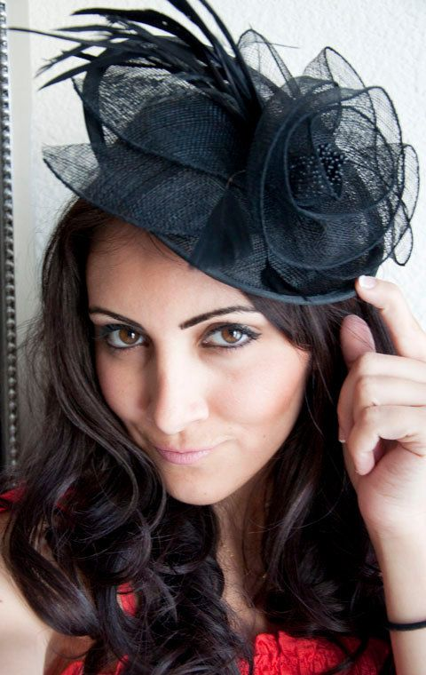 "Black Fascinator - ""PIPPA"" Mesh Couture English Hat Fascinator Headband on Etsy, $48.00"