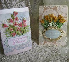 Открытка Скрапбукинг 8 марта Ассамбляж Квиллинг Весенние открытки Бумага Картон фото 2