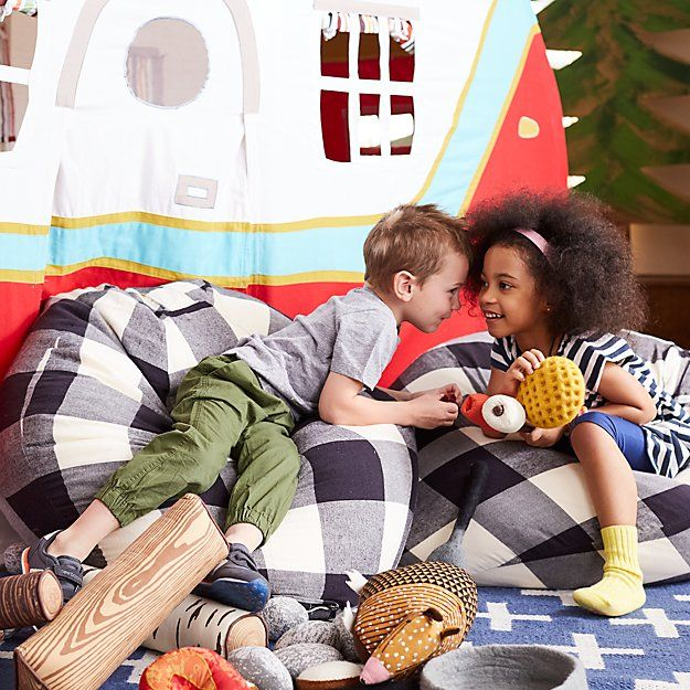 """Shop 40"""" Black Buffalo Check Bean Bag Chair Cover.  Okay, kid.  Have a seat.  Your Buffalo Check Bean Bag Chair is here.  With cotton flannel construction, they're our comfiest bean bags ever."""