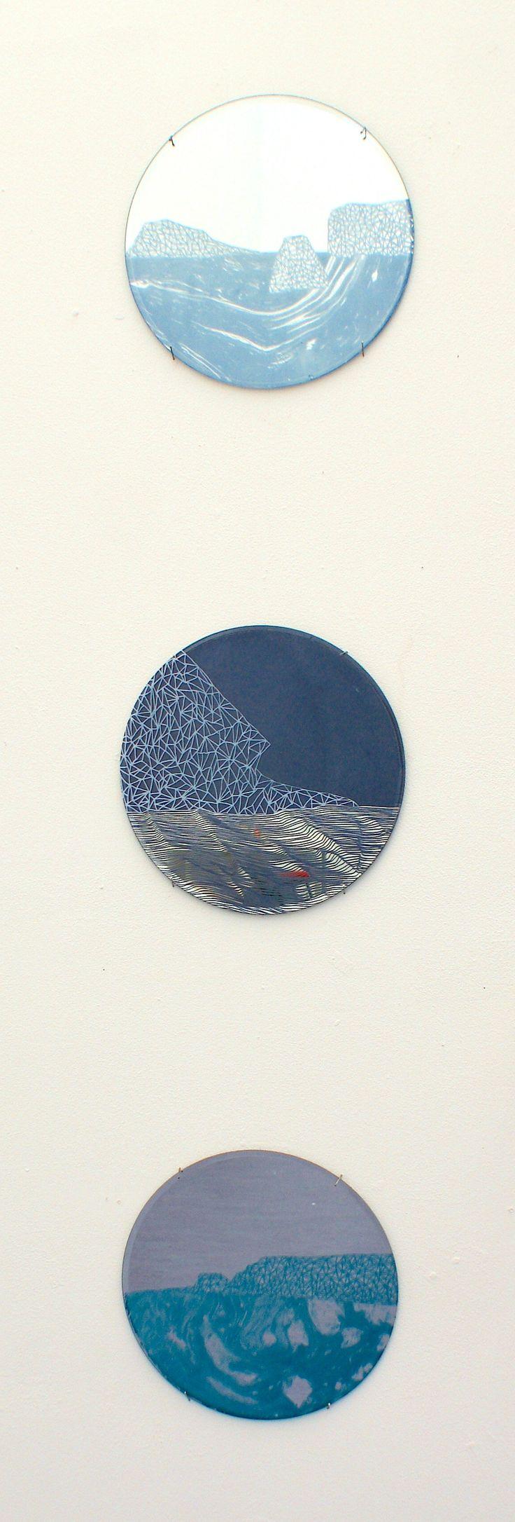 Chloe - Landscape - Screen print on mirrors Truro College A2 Fine Art Coursework Show 2017