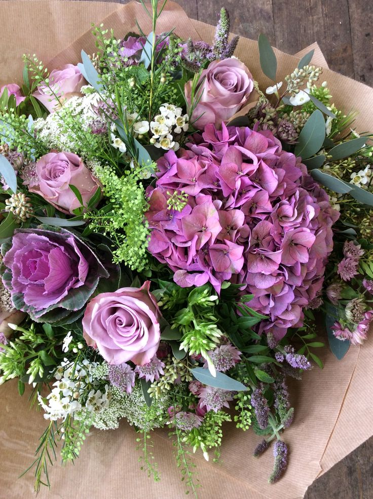 Memory lane roses, ornamental cabbages, hydrangea and astrantia made by Alice