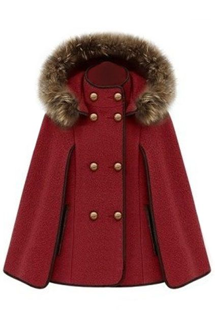 ROMWE | Double Breasted Red Cape Coat, The Latest Street Fashion