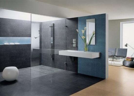 Teal And Grey Bathroom.