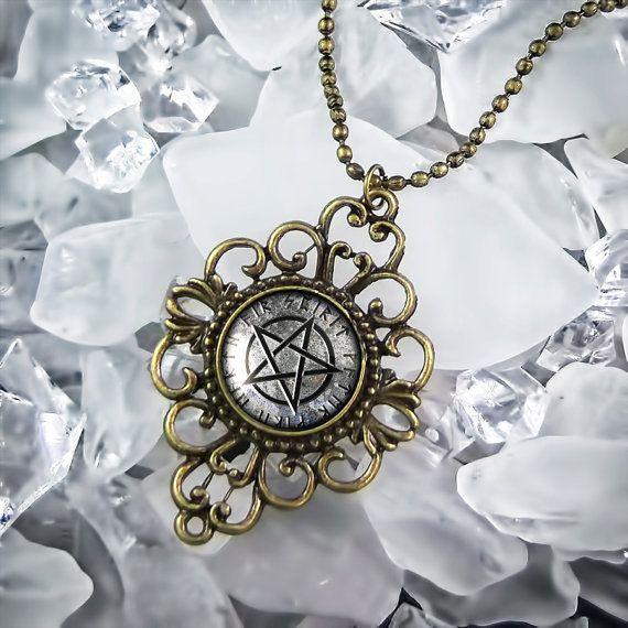 Ornate Gray Pentacle Occult Wicca Stone Pentagram Antique Bronze Necklace 338-AF