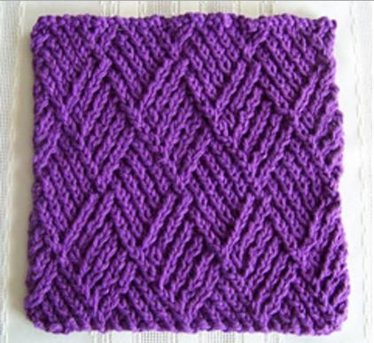 Diamond Twist Stitch Dishcloth   This royal purple knitted dishcloth is absolutely stunning!