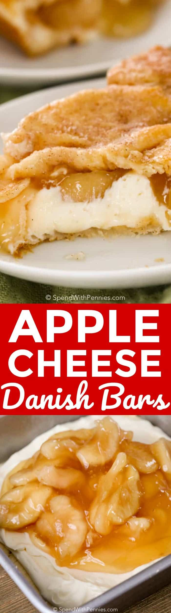 Apple Cheese Danish Bars are a quick and easy dessert that is perfect any occasion! Sweetened cream cheese and apple pie filling layered between two sheets of crescent dough create a luscious treat that your family is sure to love! #spendwithpennies #danish #creamcheese #crescent #easyrecipe #dessert #treat #quickrecipe #bars