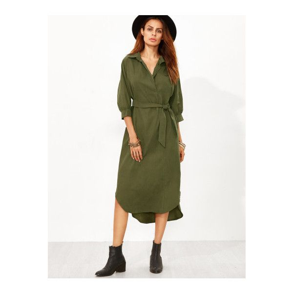 SheIn(sheinside) Army Green Dip Hem Belt Shirt Dress ($23) ❤ liked on Polyvore featuring dresses, army green, white hi low dress, hi low dress, high low dresses, white dress and midi dress