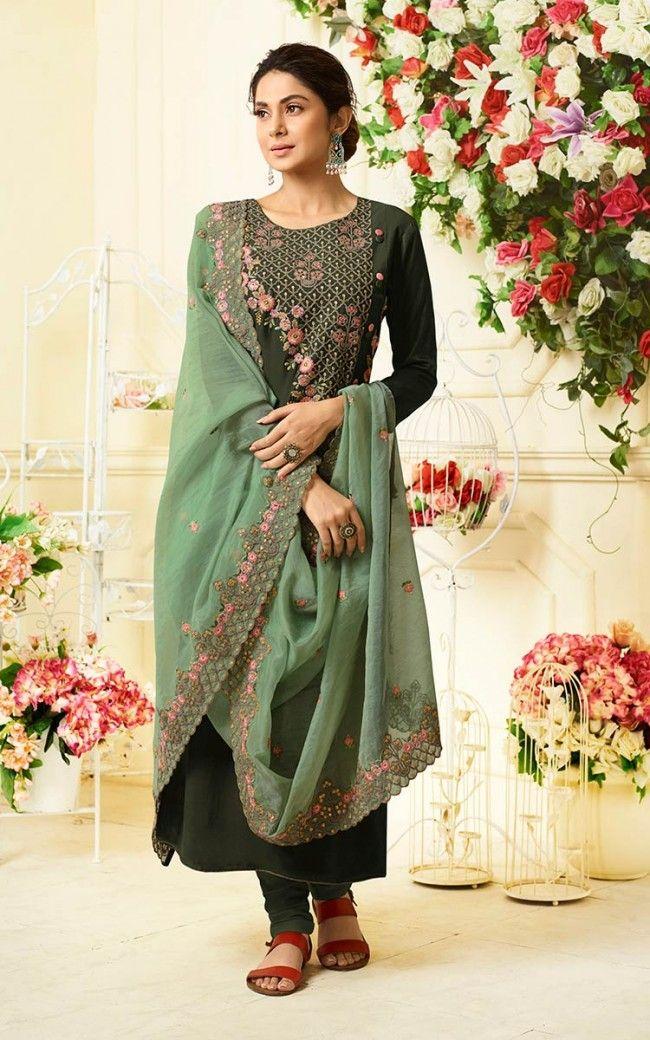 22d3a6606b Buy Dark Green Muslin Silk Salwar Kameez Online | Sareeslane.com