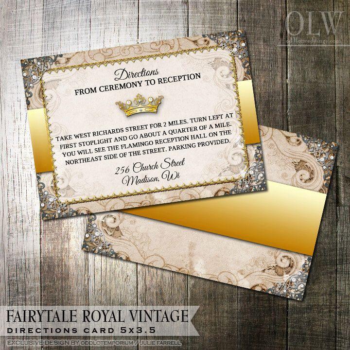 Vintage Fairytale Royal Wedding Directions Card -  Digital File - fairytale themed wedding by OddLotEmporium on Etsy https://www.etsy.com/listing/174289235/vintage-fairytale-royal-wedding