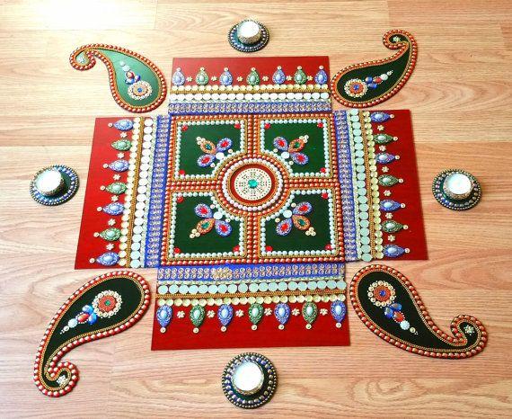 Diwali Rangoli,36 inches Jumbo Rangoli, Diwali decor, Rangoli, Acrylic rangoli, Big rangoli, Hindu floor art, Kundan rangoli, Indian Kolam