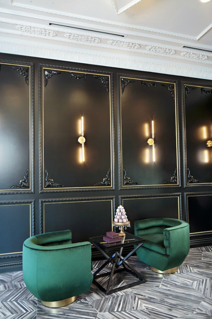 Interesting use of black paneling w/ great detail.  Maybe elevator cab lobby or somewhere that's small, but impactful