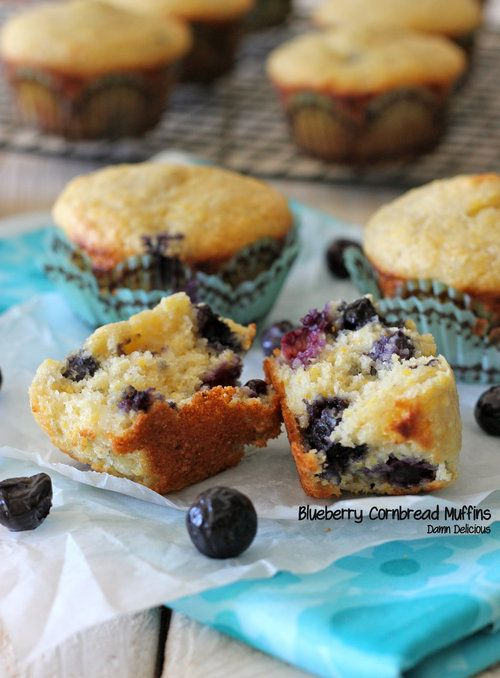 Blueberry Cornbread Muffins - Moist, rich and heavenly cornbread muffins bursting with juicy blueberries. Perfect breakfast, snack, or ANY time!