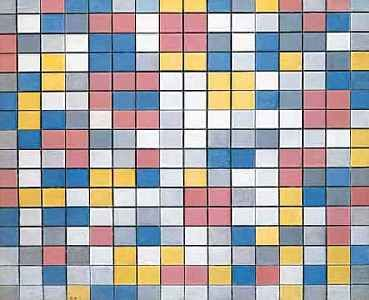 Piet Mondriaan (1919) - Dambord met lichte kleuren
