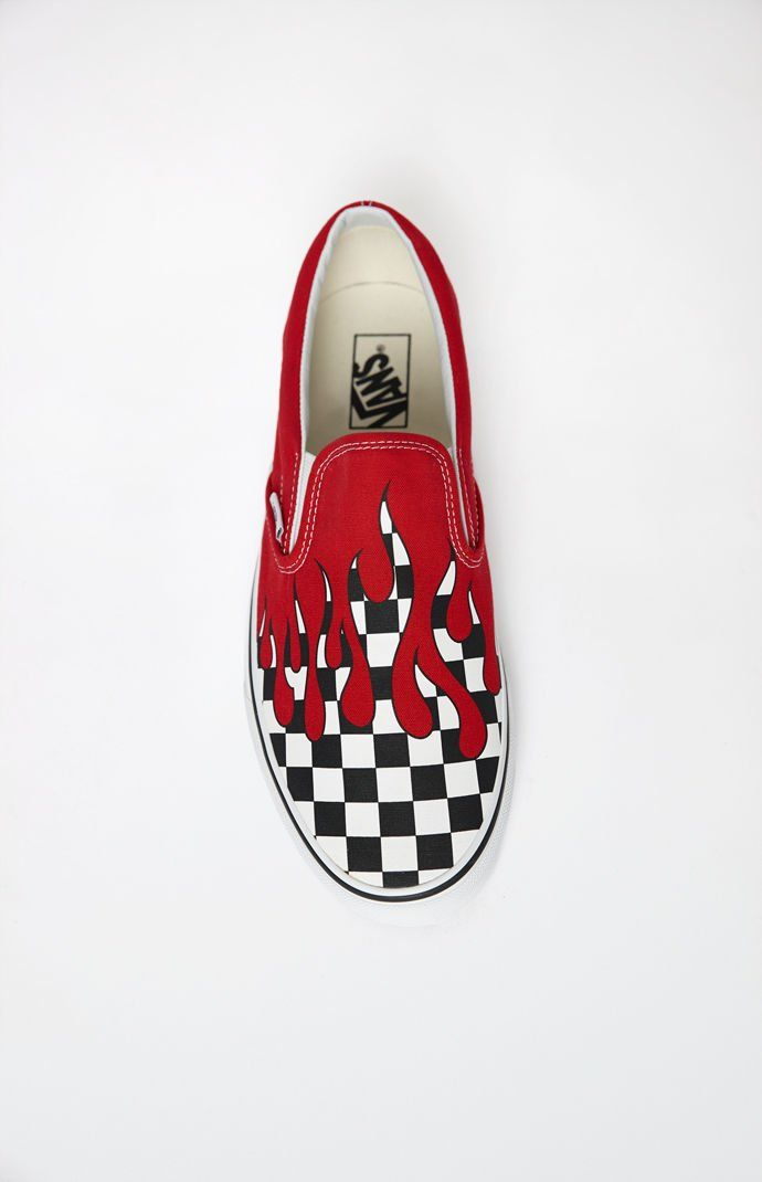 cb8bafbebe077d Vans Checker Flame Classic Slip-On Shoes in 2019