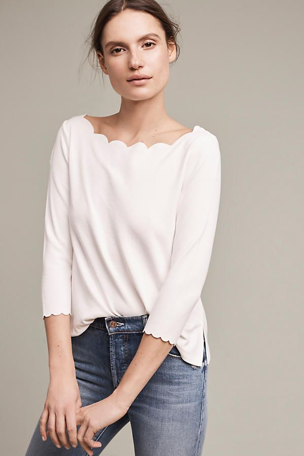 Basic yet cute casual or dressy white 3/4 sleeve