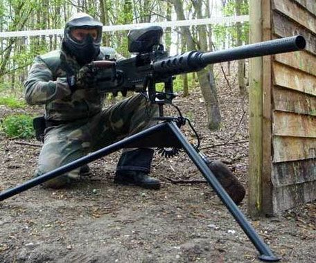Guarantee your victory on the battlefield with the merciless paintball machine gun.Mounted onto a battle tested tripod is a 30+ pound 8mm machine paintball gunwith a custom electronic trigger that can fire in semi-auto 3 shot burst and full automatic mode.