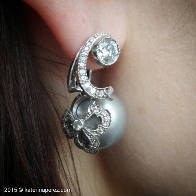 Oh so tender! #Pearl #earrings in white gold and #diamonds by…