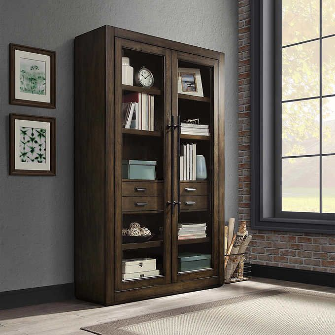Bayside Furnishings East Hill 78 Glass Door Bookcase V 2020 G