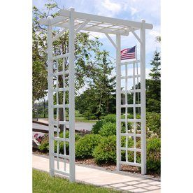 Dura-Trel 57-in W x 85-in H White Garden Arbor  http://www.lowes.com/pd_66550-77689-11199_4294612834__?productId=50157422&Ns=p_product_price%7C0&pl=1&currentURL=%3FNs%3Dp_product_price%7C0%26page%3D1&facetInfo= $149