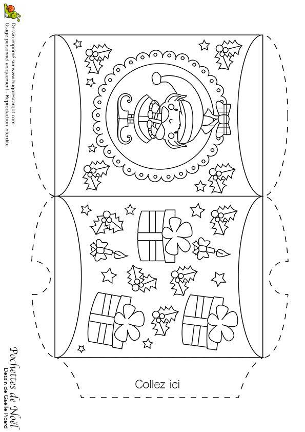 Dessin à colorier d'une pochette de Noël avec lutins et cadeaux - Hugolescargot.com