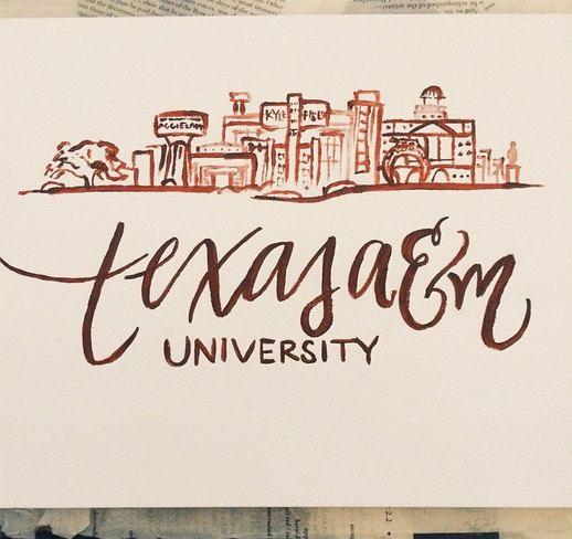 Texas A&M Skyline Calligraphy Print perfect by HandwrittenbyRachel