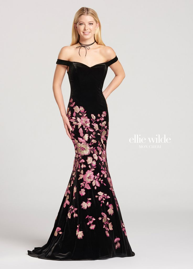 Ellie Wilde EW118116 - Off-the-shoulder velvet and metallic embroidered lace trumpet dress with sweetheart neckline. Metallic embroidered lace starts around the fitted hips and continues down the fitted thighs and flare of the skirt at the knees until it trails of above the hem and sweep train.