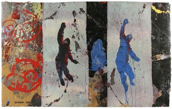 Artwork by Mark Kostabi, He Said, She Said, Made of mixed media on  cardboard