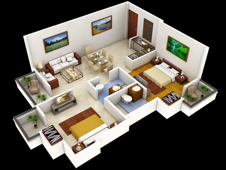 related two bedroom house interior design plan