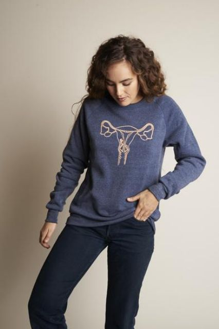 In case anyone you encounter needs an anatomy refresher. Rachel Antonoff Female Reproductive System Sweatshirt, $98, available at Rachel Antonoff. #refinery29 http://www.refinery29.com/2016/11/130285/cool-sweatshirts-funny-feminist-sweaters#slide-26