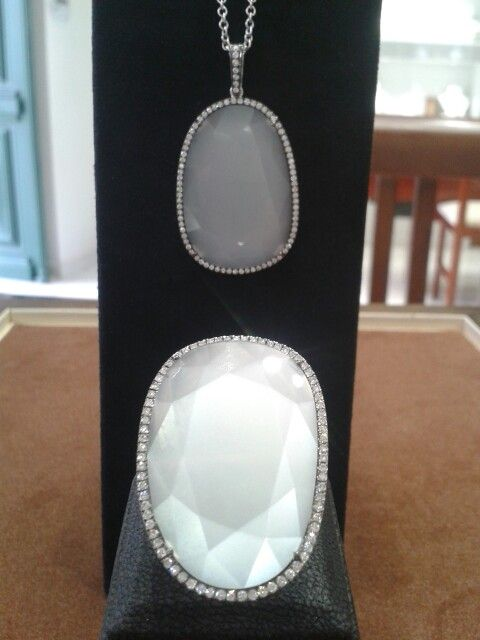 Handmade Ring and Pendant. Double Rose Cut Moonstones and Diamonds.