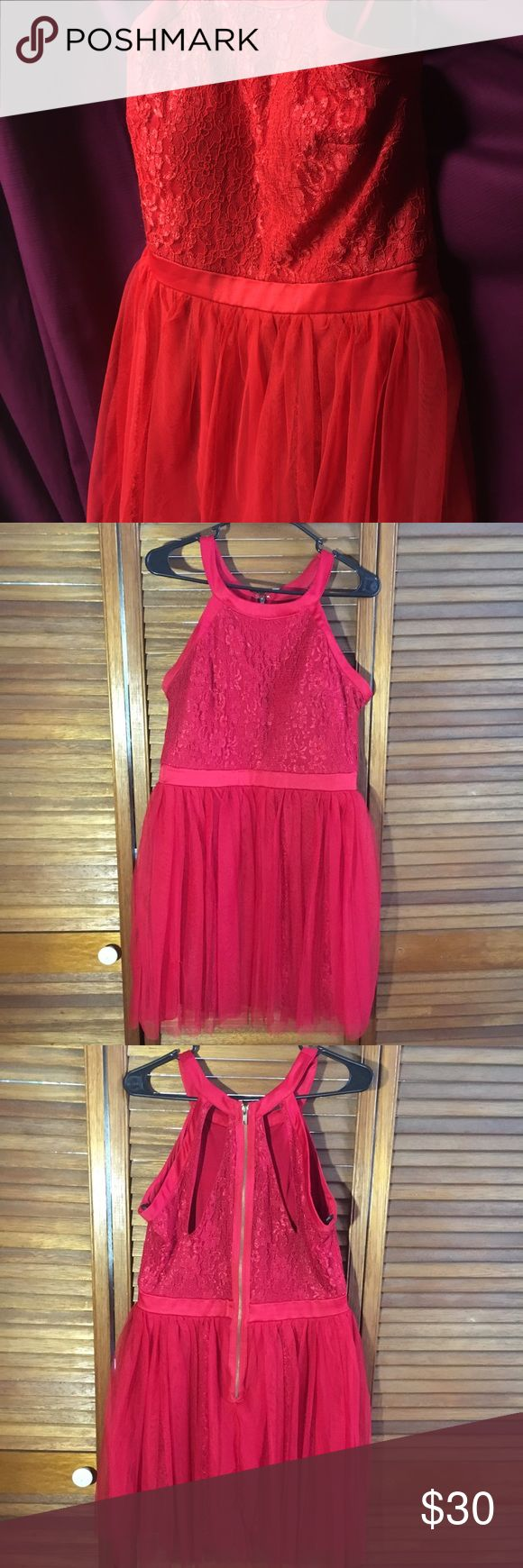 Size 13/14 Short Red Party Dress Size 13/14 short dress Red Tule with Lace design, Gold Zipper Built in bra from Group USA Good Condition Dresses Prom