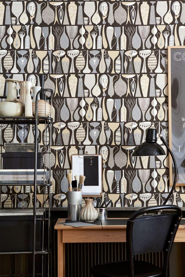 Design by Stig Lindberg - Pottery #1758 #borastapeter #scandinaviandesigners #wallpaper