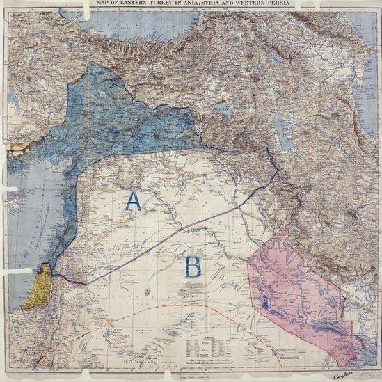 Why border lines drawn with a ruler in WW1 still rock the Middle East   BBC News - A map marked with crude chinagraph-pencil in the second decade of the 20th Century shows the ambition - and folly - of the 100-year old British-French plan that helped create the modern-day Middle East.