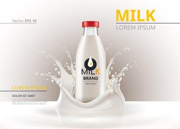 Vector Milk Bottle Splash Mockup Milk Brands Milk Bottle Milk Packaging