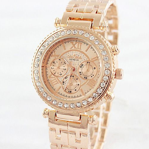 2015 Relogio Feminino Fashion Women Rhinestone Watches Rose Gold Sliver Ladies Dress Quartz Watch Montre Clock Hours Reloj Mujer