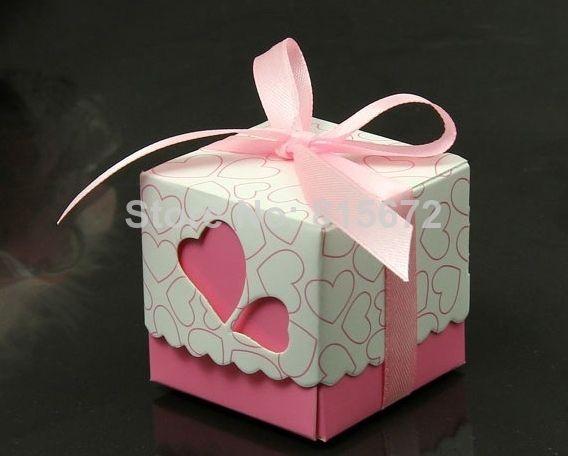 Ленты Включенная свадьбы пользу коробки конфеты розовый и фиолетовый цвета Свадьба Подарочная коробка 50pcs/lot US $10.05
